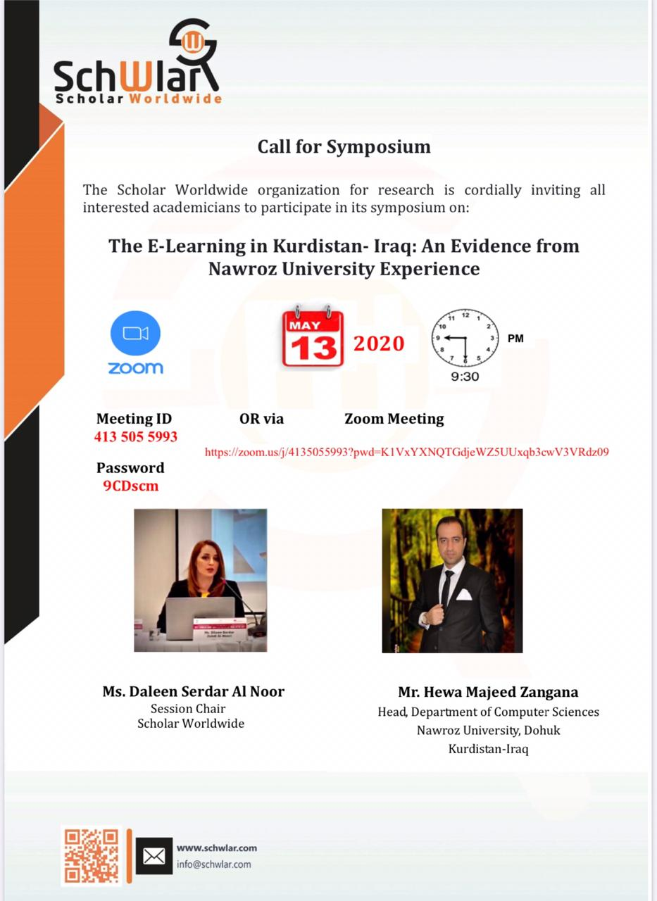 The E-Learning in Kurdistan- Iraq: An Evidence from Nawroz University Experience