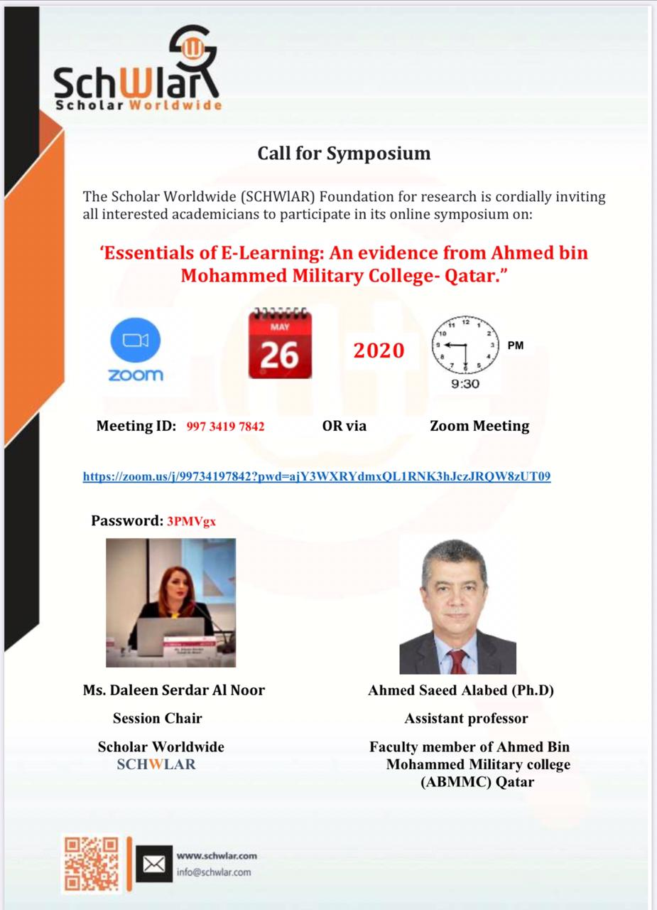 """'Essentials of E-Learning: An evidence from Ahmed bin Mohammed Military College- Qatar."""""""